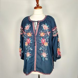 Johnny Was blue embroidered tunic top XS